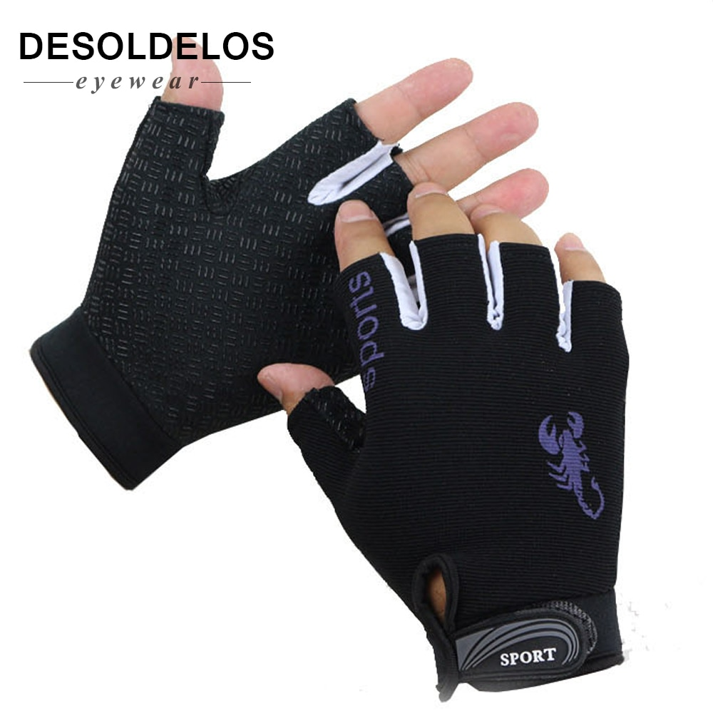 Desoldelos 핑거리스 장갑 남성 여성 반 손가락 운전 장갑 스포츠 미끄럼 방지 통기성 guantes mitten for male luvas