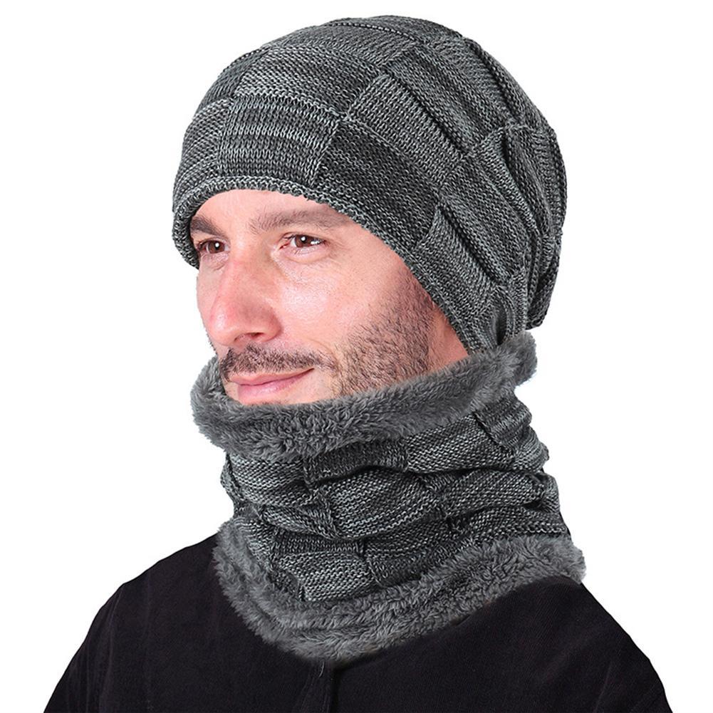 [해외]ZACOO 2PCS/Set Men/Women Warm Check Knitted Hat + Neck Gaiter Fashionable Neck-Warmer Cap Suit san0/ZACOO 2PCS/Set Men/Women Warm Check Knitted Ha