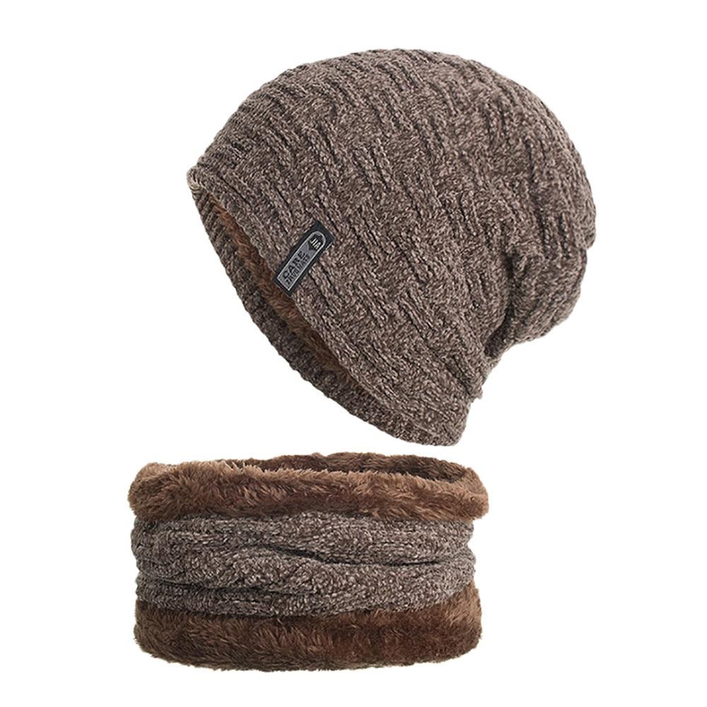 [해외]2PCs Men Hat Scarf Set tricotin czapka i komin шапка с шарфом Winter Knit Cap Earmuffs Plus Velvet Thick Warm Neckerchief Hat E/2PCs Men