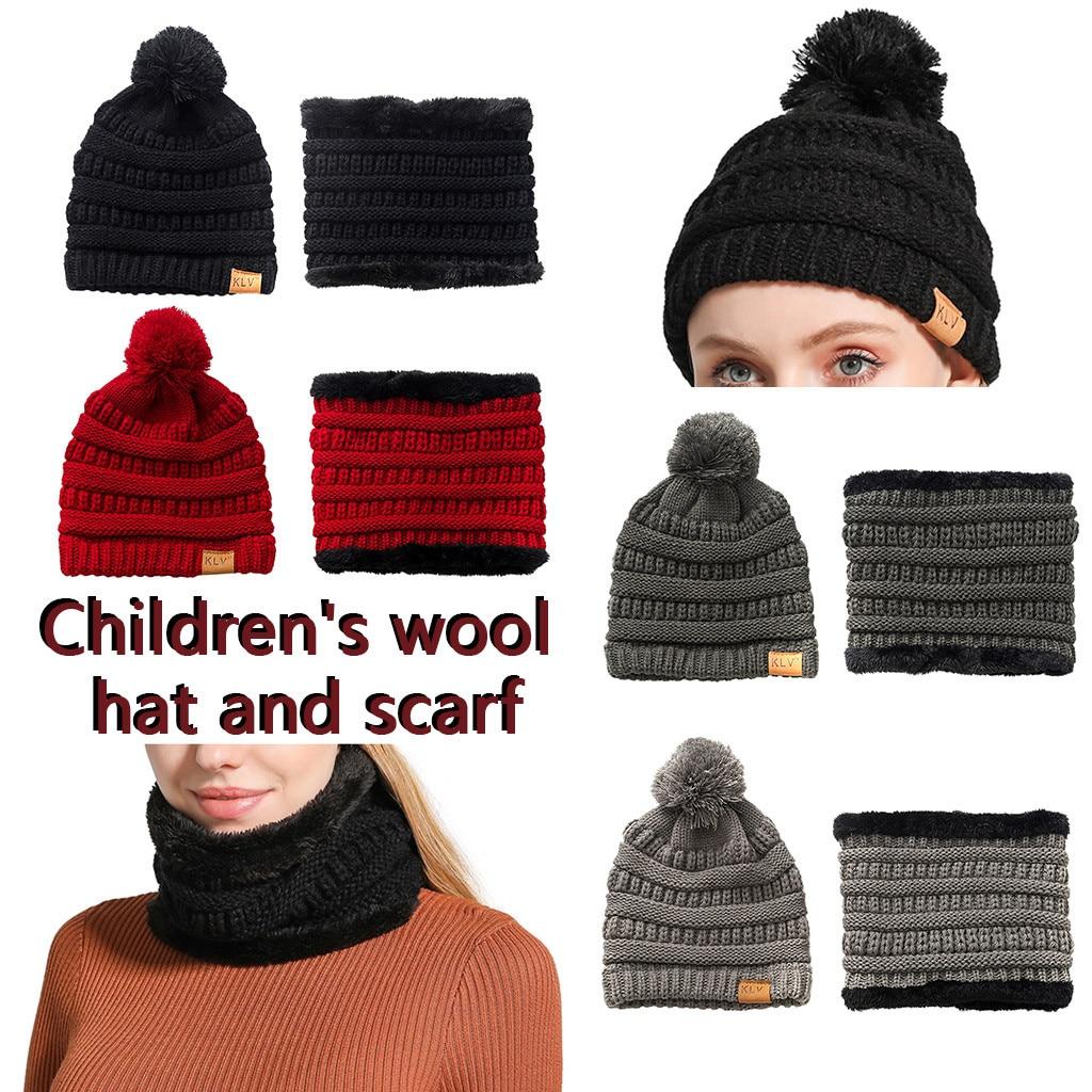 [해외]Winter Hats Cap Bib Scarf UniWinter Thicken Wool Warm Hat With Hairball Wool Cap For Boy And Girl Gorro Chapeu Sombrero W10/Winter Hats