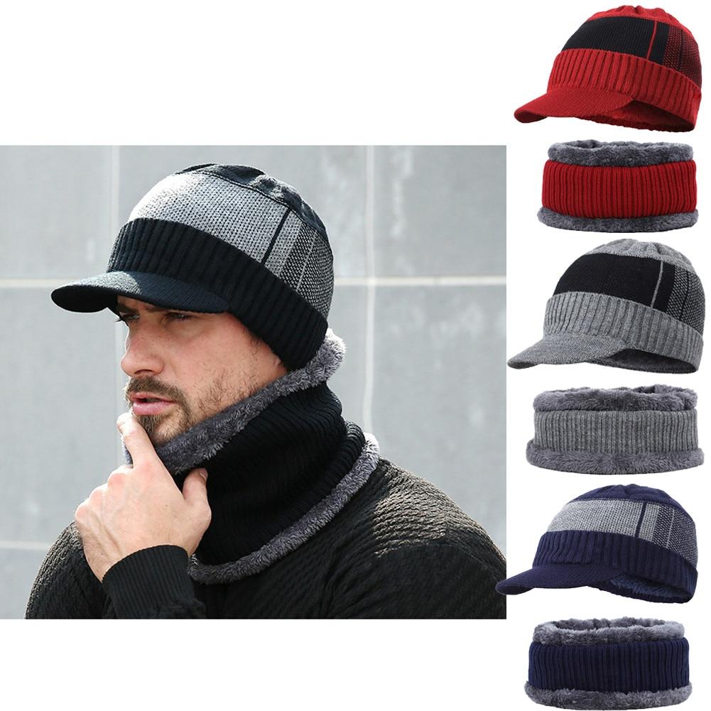 [해외]Fashion Mens Winter Warm Knitted Beanies HatsBib Scarf 2Pcs Sets Bonnet Beanie Cap Outdoor Riding Set/Fashion Mens Winter Warm Knitted B