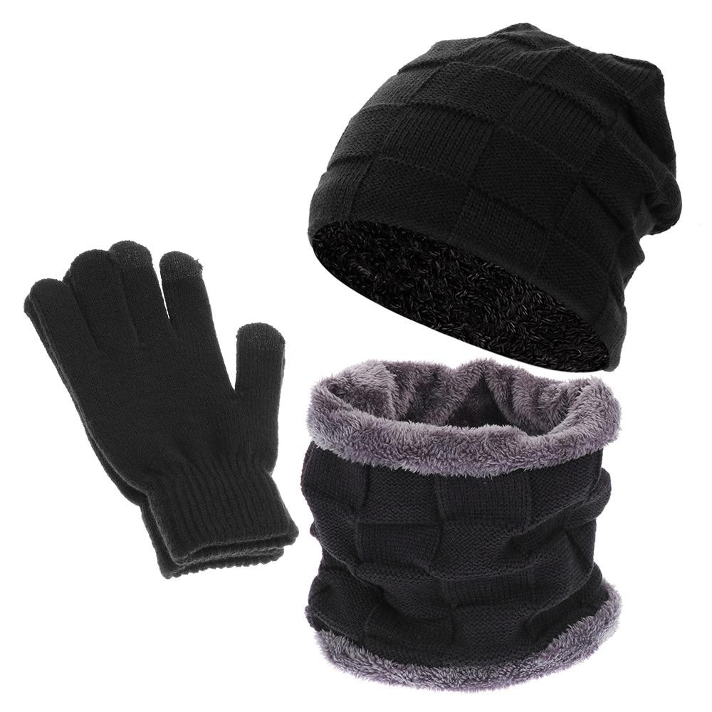 [해외]3Pcs/Set Men Women Winter Warmer Beanies Scarf Gloves Set Fleece Warm Knitted Hat Neck Warmer Scarf Touch Screen Gloves/3Pcs/Set Men Wom