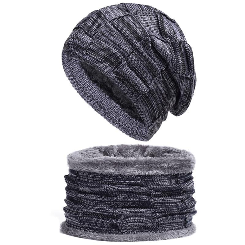 [해외]Fur Wool Lining Thick Warm Beanies Balaclava Winter Hat for Men Women Cap Skullies Bonnet 2Pcs Neck Warmer Knitted Hat Scarf Set/Fur Woo