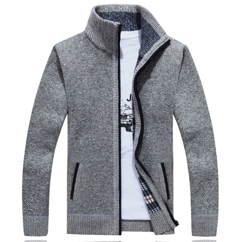 [해외]Plus Size Autumn Winter Fleece Men`s Sweater Thick Faux Fur Wool Mens Sweater Jackets Casual Zipper Knitwear Cardigan Masculino/Plus Size Autumn W