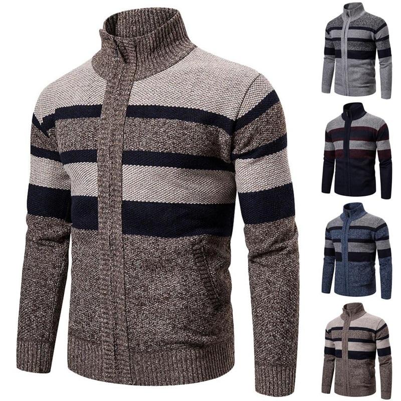 [해외]Sweater Men Knitted Jumper Zipper Winter Turtleneck Coat Long Sleeve Cardigan Men abrigo hombre Christmas Sweater Outcoat 2020/Sweater M