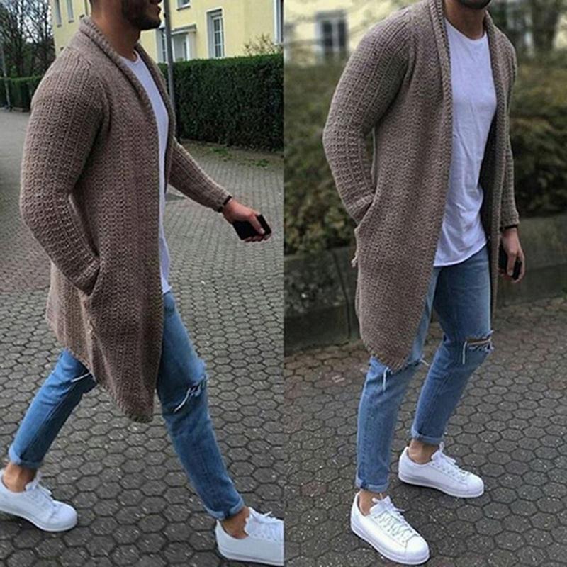 2019 캐주얼 솔리드 남성 카디건 streetwear 얇은 긴 소매 니트 스웨터 가을 남성 슬림 피트 스웨터 오버 코트 플러스 사이즈 3xl