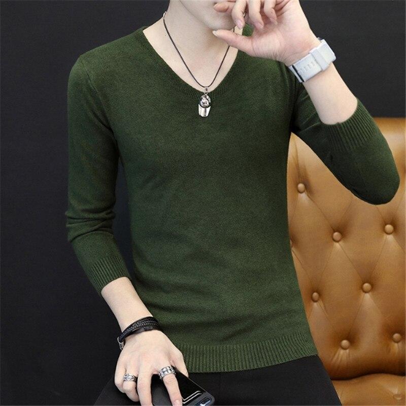 [해외]Male Spring solid color cashmere sweater  V-neck slim Fashion thin trend Male long-sleeved Knitted sweaters Casual tide sweater /Male Spring solid