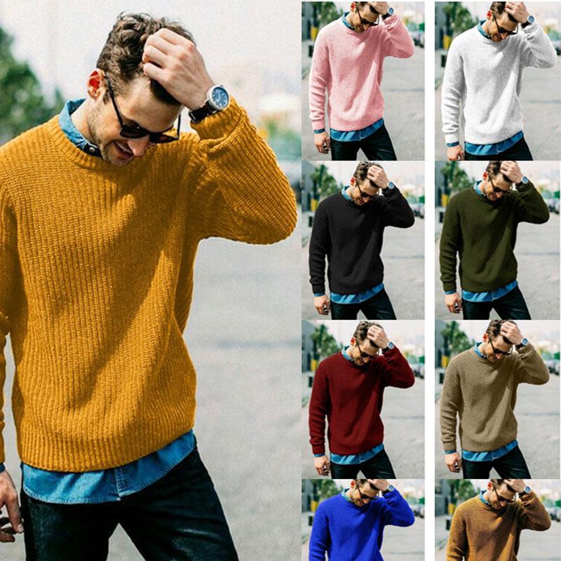 [해외]남성 풀오버 o 넥 긴 소매 대형 캐주얼 남성 스웨터 가을 겨울 따뜻한 스웨터 2019 학생 솔리드 남성 풀오버/남성 풀오버 o 넥 긴 소매 대형 캐주얼 남성 스웨터 가을 겨울 따뜻한 스웨터 2019 학생 솔리드 남성 풀오버