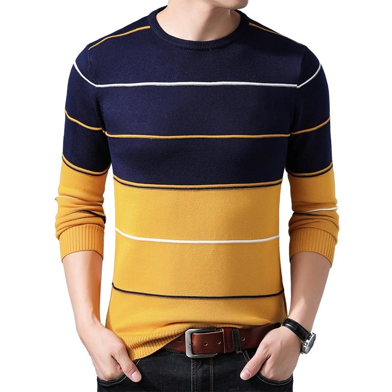 [해외]Browon 브랜드 2019 남성 줄무늬 스웨터 가을 겨울 스웨터 pullovers 남자의 o 목 망 풀오버 목 패션 스웨터 의류/Browon 브랜드 2019 남성 줄무늬 스웨터 가을 겨울 스웨터 pullovers 남자의 o 목 망 풀오버 목