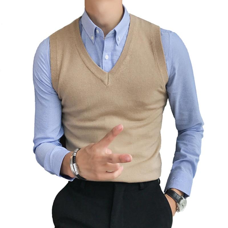 [해외]2019 Autumn and Winter Men`s Heart-neck Casual Knit Vest / Male Solid Color Sleeveless V-neck Sweater Waistcoat/2019 Autumn and Winter Men`s Heart