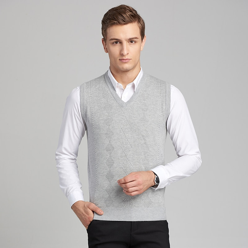 [해외]2017  Knitted Vest Autumn Mens Pullover Knitted Sweater Men Business Wool Sweater vests plaid printed/2017  Knitted Vest Autumn Mens Pullover Knit