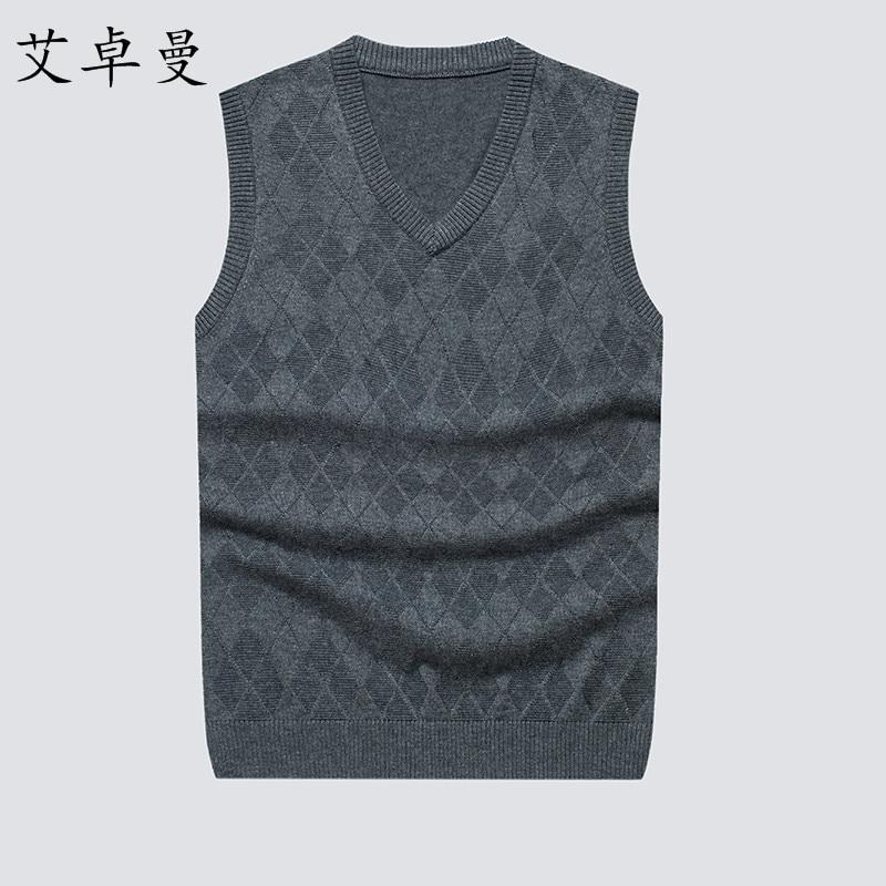 [해외]2017 High-grade New Fashion Knitted Vest Autumn Winter Men Pullover Sweater Sleeveless V-Neck Casual Mens Sweaters And Pullovers/2017 High-grade N