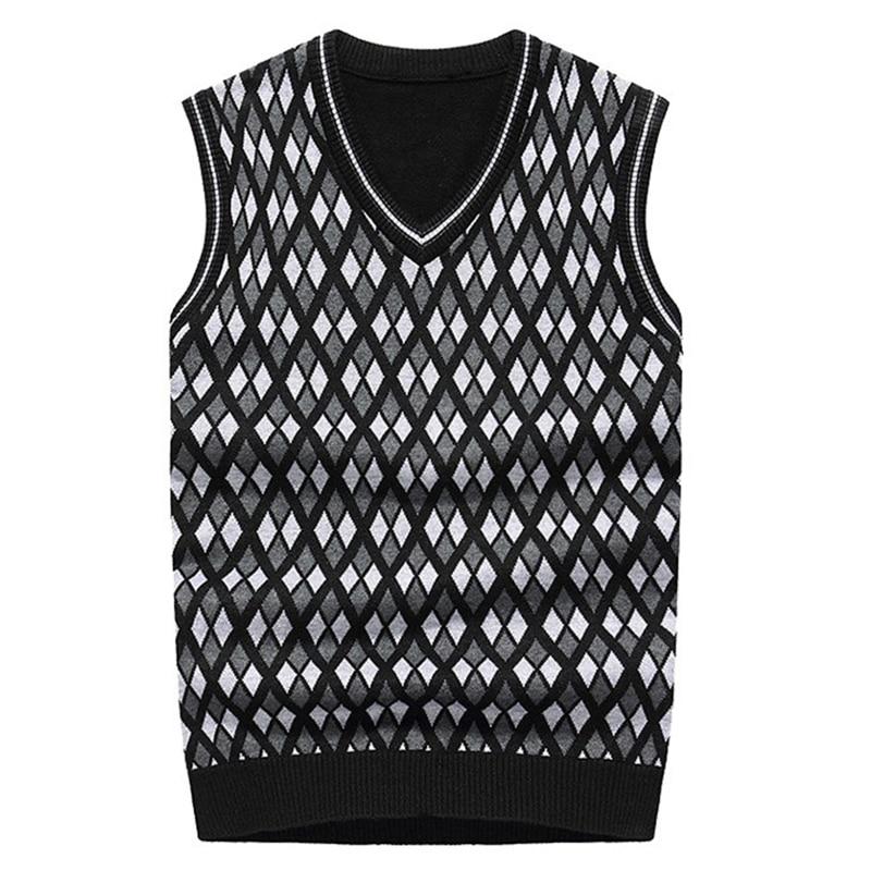 [해외]Wool blend men sweater pullover plaid sleeveless vest male sweater v-neck plus size casual knitting sweaters vests waistcoats/Wool blend