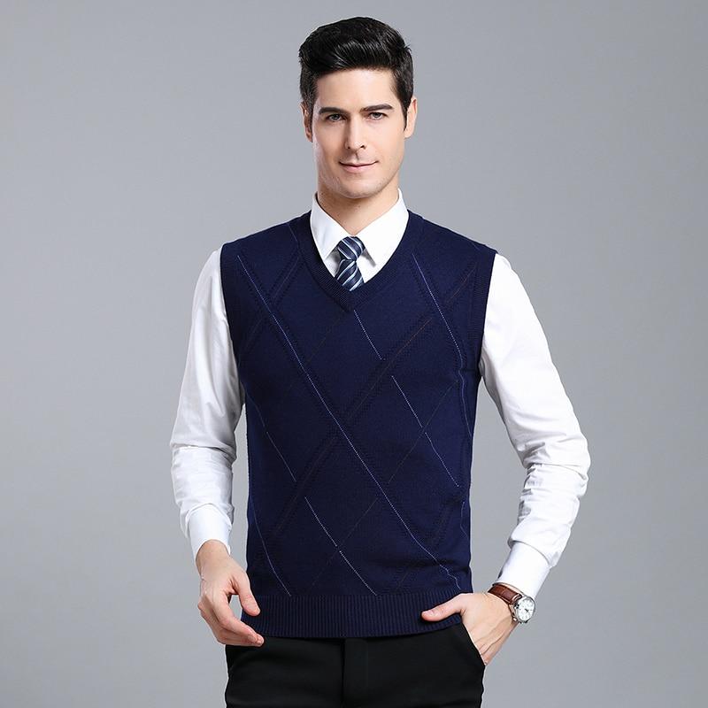 [해외]Casual Argyle V-Neck Sleeveless Vest Men Clothes 2019 Autumn Winter New Arrival Knitted Cashmere Wool Sweater Vest/Casual Argyle V-Neck