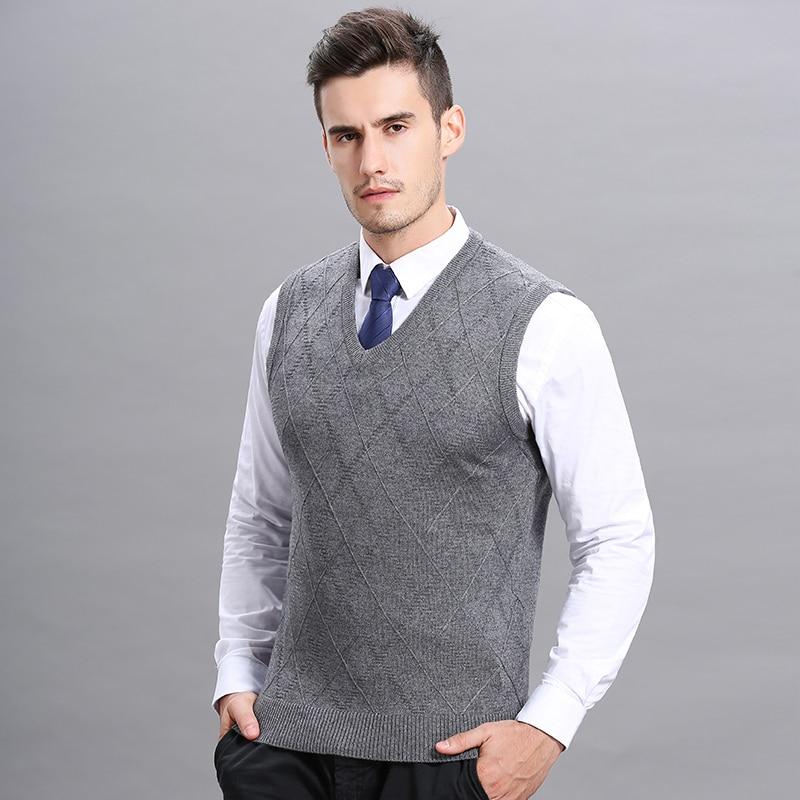 [해외]Hot  Mens Autumn Winter Plaid Wool Sweater Vest Casual Male V-Neck Cashemre Sleeveless Sweater Pullovers/Hot  Mens Autumn Winter Plaid W