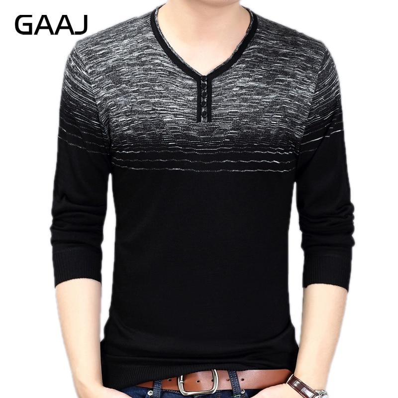 [해외]Gaaj 2019 브랜드 캐주얼 사회 스트라이프 풀오버 남자 스웨터 v 넥 셔츠 블랙 와인 스웨터 망 패션 니트 남자 sweter