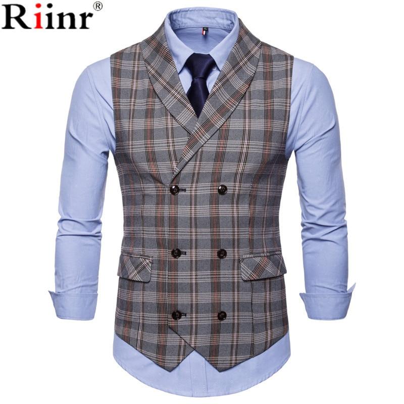 [해외]Riinr 가을 새로운 남자 패션 캐주얼 기본 캐주얼 정장 조끼 남성 조끼 Gilet 옴므 격자 무늬 민Retail 사회 슬림 맞는 양복 조끼/Riinr Autumn New Men Fashion Casual Basic Casual Suit Vest Male Wa