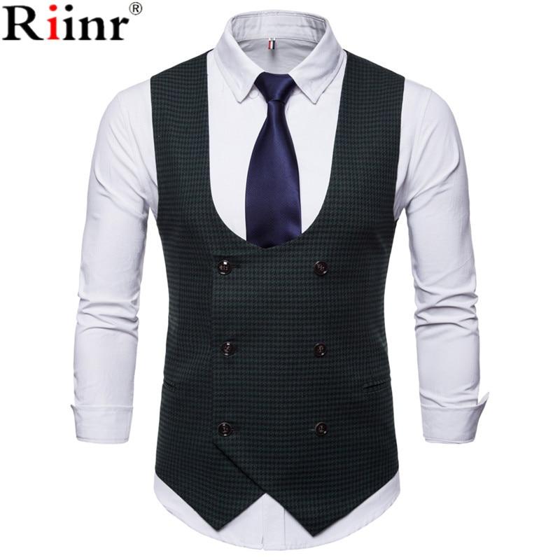 [해외]Riinr Mens 캐주얼 조끼 정장 브랜드 남성 패션 더블 브레스트 디자인 민Retail 슬림 슬림 맞는 조끼 사이즈 M-4XL/Riinr New Arrival Mens Casual Vest Suit Brand Male Fashion Double-Breaste