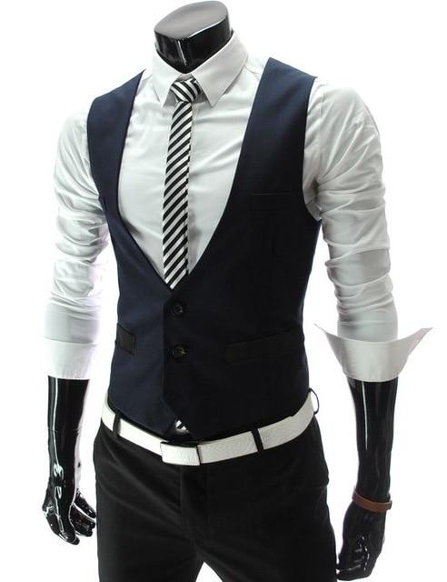 [해외]/New Design Navy Blue Mens Suit Vests Custom Made Wedding Prom Party Waistcoats Casamento Colete Gilet Best Man Vest Size L-6XL