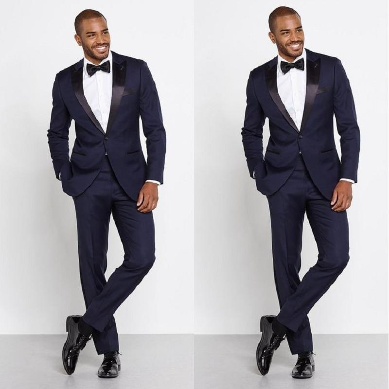 [해외]Navy Blue Men Wedding Suits Custom Made Slim Fit Groom Tuxedos Groomsman Best Men Business Suits (Jacket+Pants)/Navy Blue Men Wedding Su