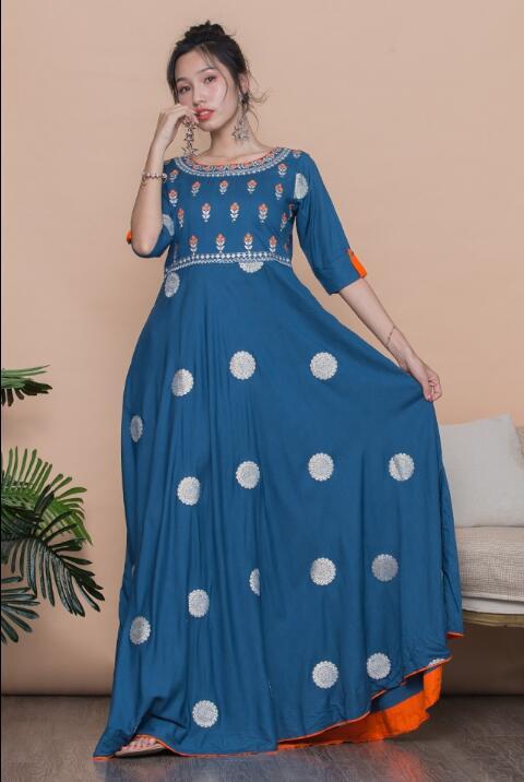 [해외]2019 Woman Fashion Ethnic Styles Sets Cotton India Kurtas  Three Quarter Sleeve Long Dress/2019 Woman Fashion Ethnic Styles Sets Cotton