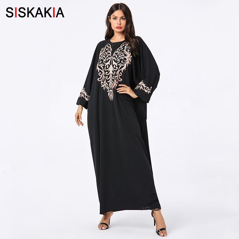 [해외]Siskakia Batwing Sleeve Casual Muslim Full Length Dresses Black Vintage Pattern Embroidery Abaya Dress Plus Size Arabian Wears/Siskakia