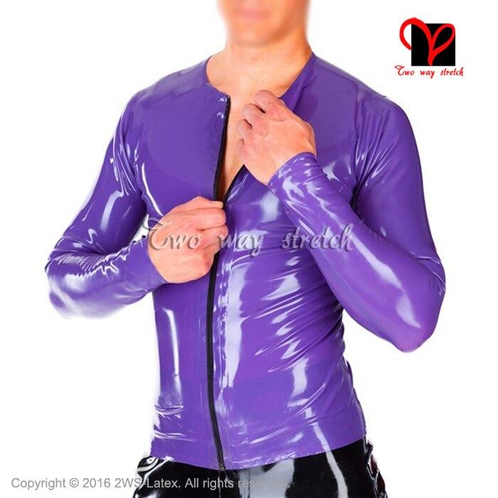 [해외]Sexy Latex shirtzip Front  Rubber top clothes clothings round collar plus size Pull On Top latex Tee shrit XXXL SY-062/Sexy Latex shirtzip Front