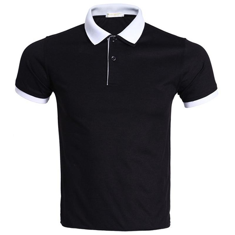 [해외]새로운 검은 색 폴로 셔츠 남성 폴로 옴므 2016 여름 스타일 단색 더블 칼라 디자인 남성 폴로 브랜드 폴로 셔츠 XXXL/New Black Polo Shirt Men Polo Homme 2016 Summer Style Solid Color Double Col
