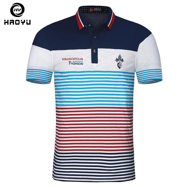[해외]자 수 남자 폴로 셔츠 브랜드 플로랄 칼라 스트라이프 인쇄 폴로 통기성면 슬림 남성 폴로 셔츠 Camisa Polos Haoyu/Embroidery Men Polo Shirt Brand Floral Collar Striped Printed Polo Breatha