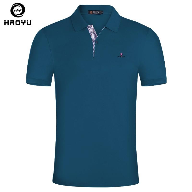 [해외]브랜드 단색 폴로 셔츠 남자 짧은 Retail 슬림 남자 폴로 셔츠 Haoyu 브랜드 캐주얼 통풍 여름 새로운 폴로 셔츠 플러스 크기 5XL/Brand Solid Polo Shirt Men Short Sleeve Slim Mens Polo Shirts Haoyu
