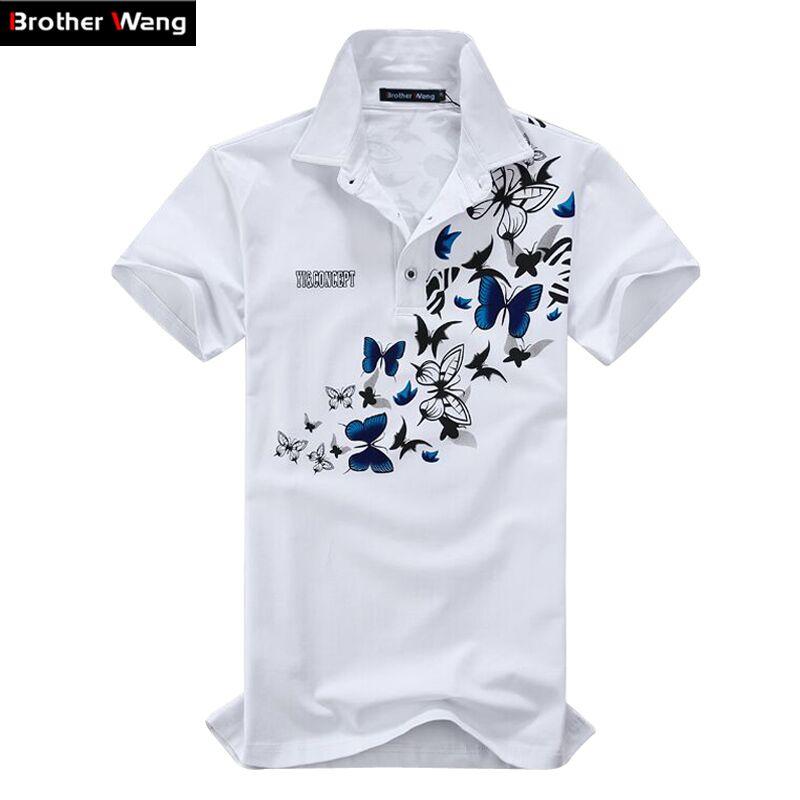 [해외]남자 대형 인쇄 폴로 셔츠 2017 새로운 코튼 레저 짧은 Retail 여름 폴로 남자 & 패션 옷깃 브랜드 의류 5XL 6XL/Men large size printing POLO shirt 2017 new Cotton Leisure Short sleev