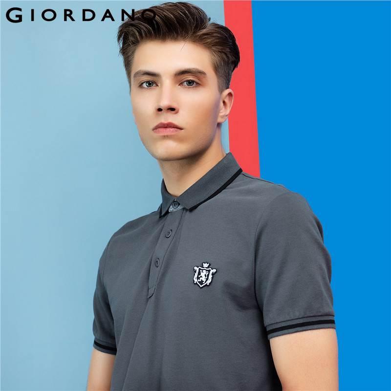 [해외]지오다노 남자 폴로 셔츠 반팔 늑골이있는 폴로 셔츠 라운드 넥 사자 자수 3D 탄성 상표 옷/Giordano Men Polo Shirt Short Sleeves Ribbed Collar Polo Shirts Roundneck Lion Embroidery 3D E