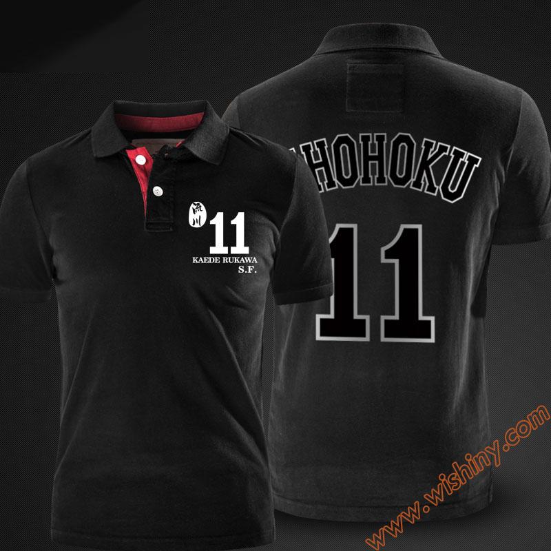 [해외]슬램 덩크 루카와 가드 폴로 셔츠 남성용 반Retail 탑 여름 블랙 레드 그레이 쇼 호쿠 Polos/Slam Dunk Rukawa Kaede Polo Shirts Men Short Sleeve Tops Summer Black Red Grey Shohoku Po