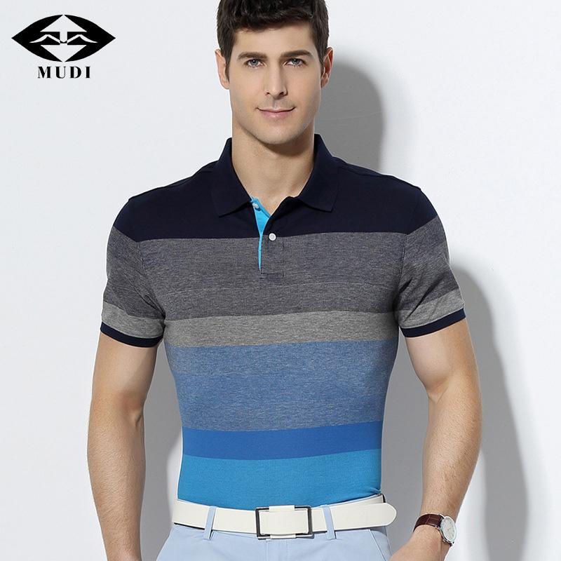 [해외]MUDI 브랜드 Men & s 여름 짧은 폴로 쿨 코튼 통기성 셔츠 남성 슬림 피트 T 블라우스 폴로 셔츠 플러스 크기 M-6XL/MUDI Brand Men&s Summer Short Polo Cool Cotton Breathable Shirts Male