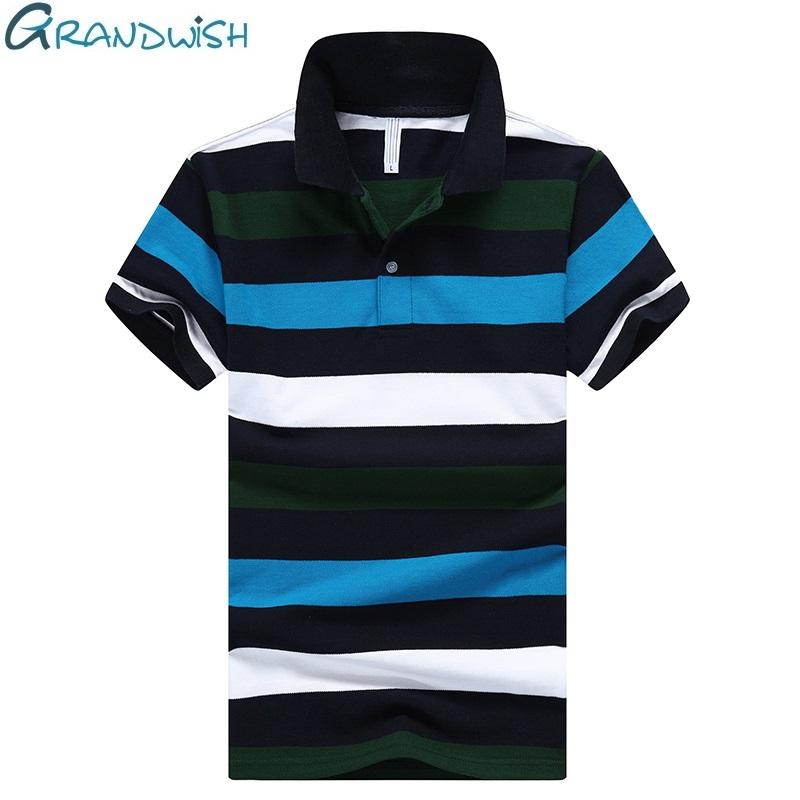 [해외]Grandwish 100 % 코 튼 스트라이프 폴로 셔츠 남자 턴 다운 칼라 새 캐주얼 폴로 셔츠 남자 브랜드 의류 남성 폴로 셔츠, DA474/Grandwish 100% Cotton Striped Polo Shirt Men Turn-down Collar New