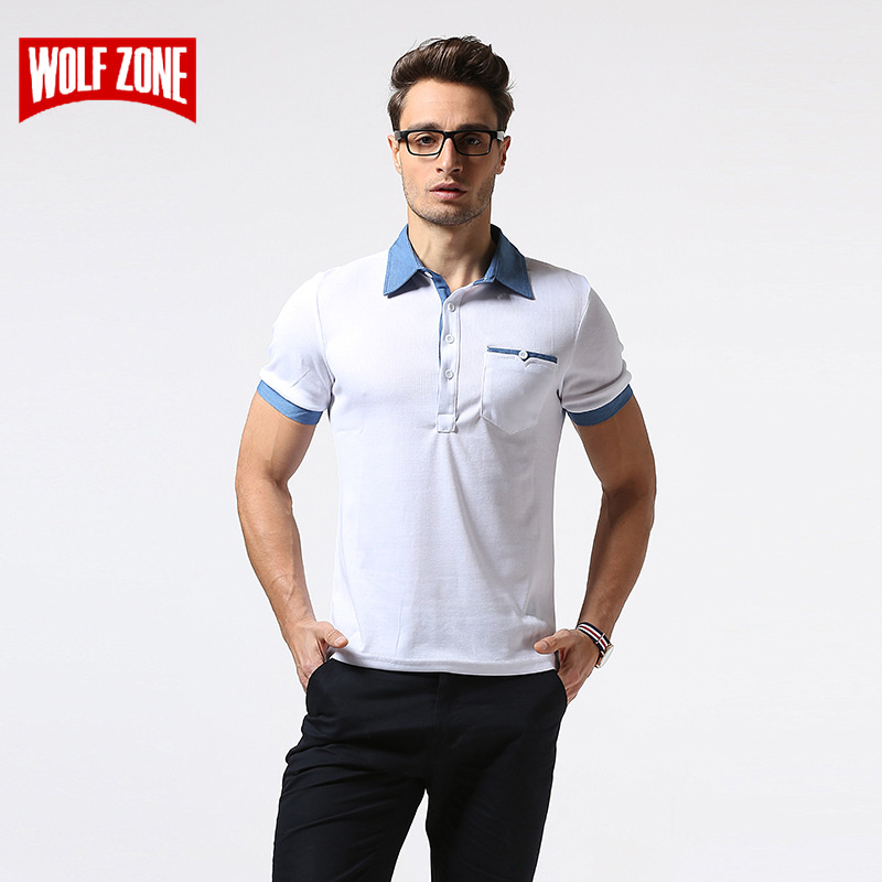 [해외]WOLF ZONE 브랜드 폴로 셔츠 남성 여름 통기성 비즈니스 캐주얼 남성 반팔 패션 단색 코튼 폴로 셔츠 의류/WOLF ZONE Brand Polo Shirt Men Summer Breathable Business Casual Mens Short Sleeve