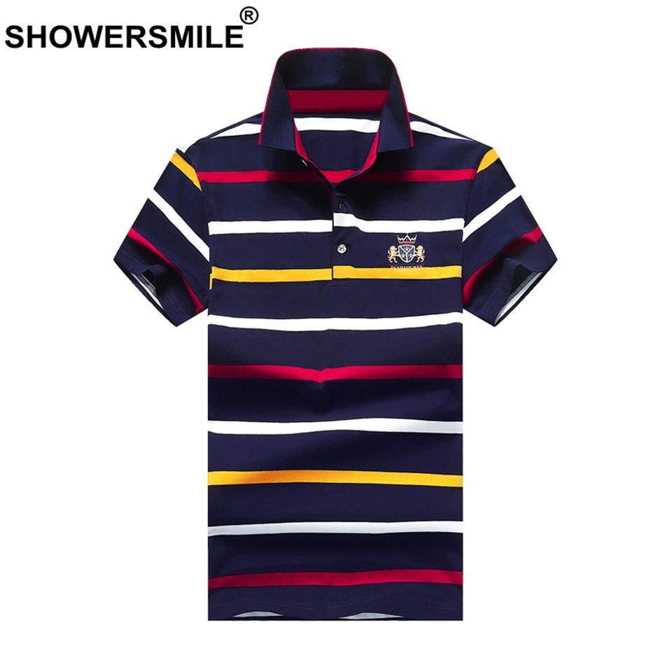 [해외]SHOWERSMILE 스트라이프 폴로 셔츠 다채로운 남성 폴로 T 탑 자수 코튼 여름 의류 남성 캐주얼 브랜드 플러스 크기 4xl 티셔츠/SHOWERSMILE Striped Polo Shirts Colorful Mens Polo T Tops Embroidery