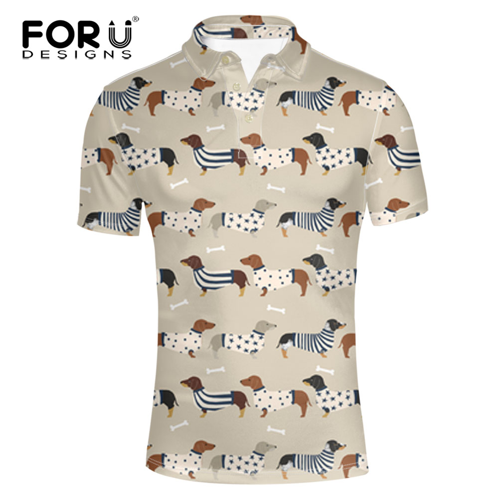 [해외]FORUDESIGNS 닥스 훈트 개는 폴로 셔츠를 인쇄한다 남성은 유행 짧은 Retail는 남성을십대 폴로 셔츠를 길게한다 형식적인 사무실 의류/FORUDESIGNS Dachshund Dog Printing Polo Shirt Men Fashion Short S