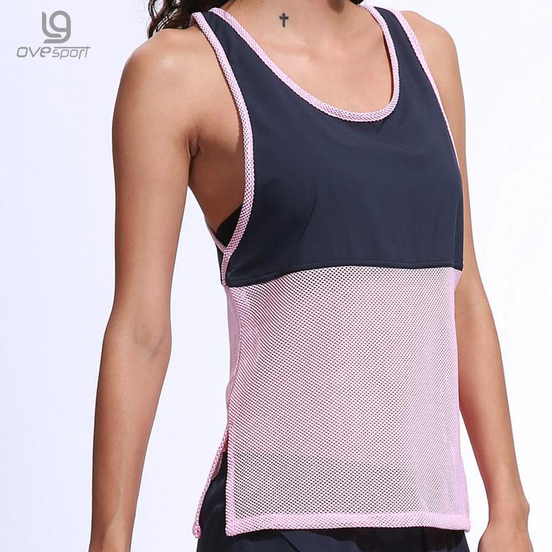 [해외]여름 민Retail 탱크 탑 여성 스포츠 셔츠 시폰 패치 워크 중공 통기성 체육관 탑 피트니스 여성 속건 셔츠/Summer Sleeveless Tank Top Women Sporting Shirts Chiffon Patchwork Hollow Breathable