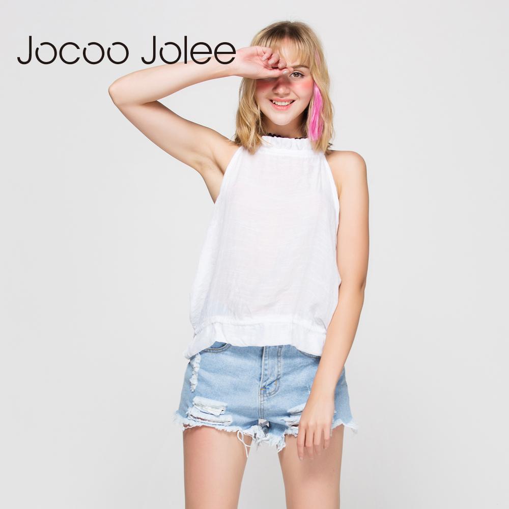 [해외]Jocoo Jolee Summer Women 탑스 홀터넥 넥타이 Straightess 섹시한 백 레스 캐주얼 Camiseta 탱크 탑 베스트 조끼 Ruffles White Tank Top/Jocoo Jolee Summer Women Tops Halter Neck