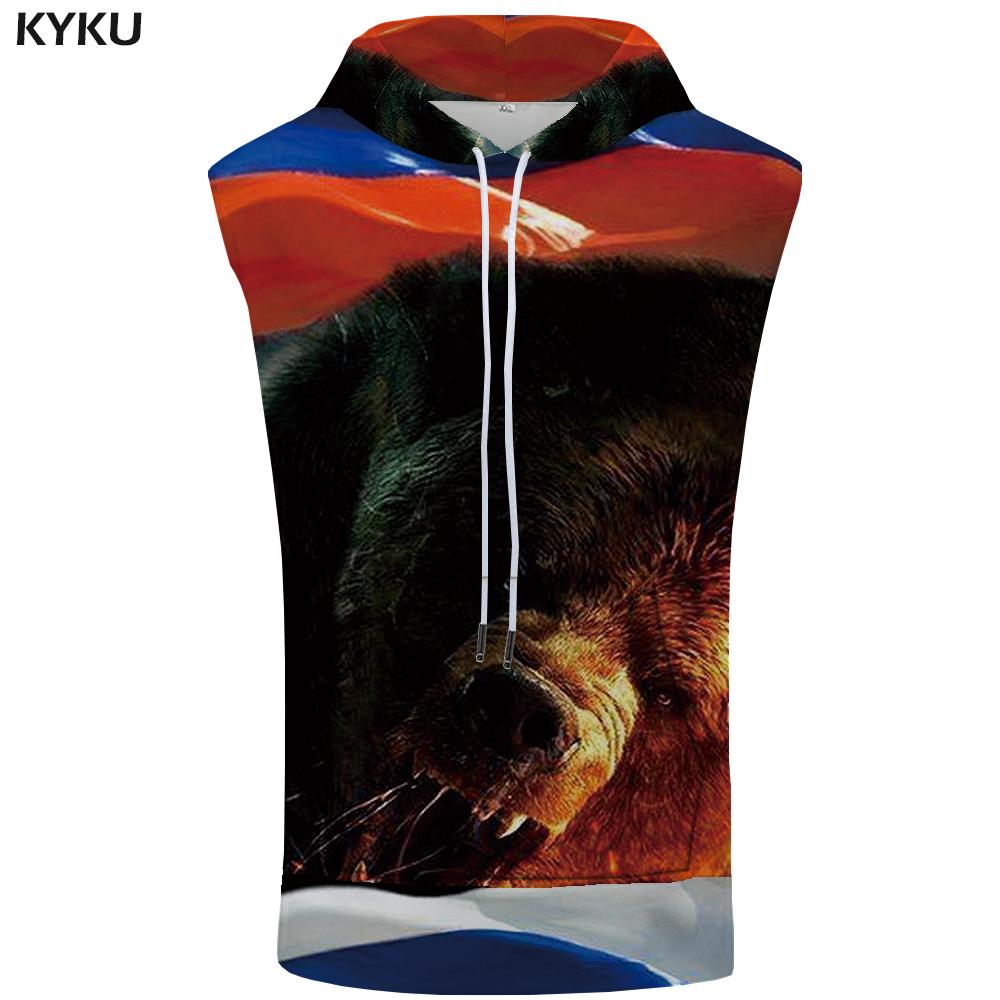 [해외]KYKU 브랜드 곰 민Retail 후드 티 러시아 양말 재미 있은 조끼 스트 린저 셔츠 여름 남성 의류 2018 재미 패션/KYKU Brand Bear Sleeveless Hoodie Russia Singlets Funny Vest Stringer Shirts