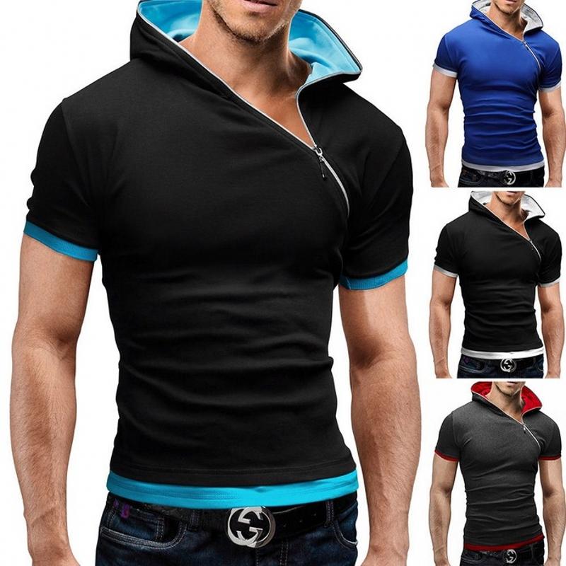 [해외]T 셔츠 남성 브랜드 2016 패션 남성 & S 후드 칼라 사선 지퍼 디자인 탑 & A; 티 T 셔츠 남성 짧은 Retail 슬림 티셔츠 옴므/T Shirt Men Brand 2016 Fashion Men&S Hooded Collar Oblique