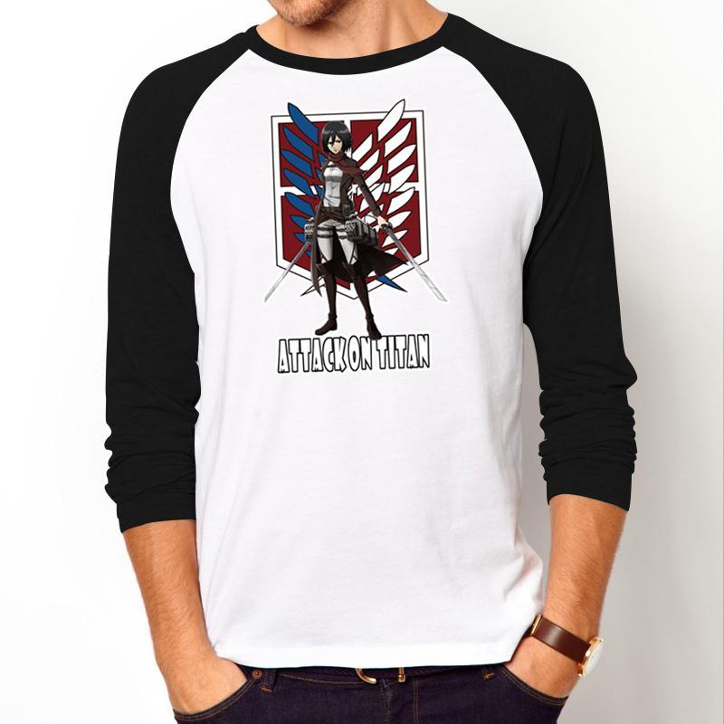 [해외]패션 만화 남자 & 티셔츠 애니메이션 타이탄 캐주얼 셔츠에 대한 공격 미카사에 커먼 이미지 T 셔츠 남성용 긴팔 티셔츠 남성용/Fashion Cartoon men&s t-shirt anime Attack on Titan casual shirt Mikasa