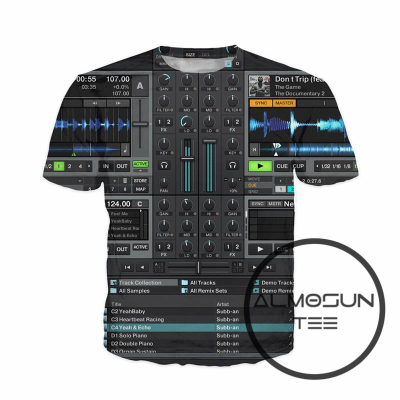 [해외]ALMOSUN Audio Ableton Live 3D 프린트 T 셔츠 반팔 캐주얼 여름 하라주쿠 힙합 티 여성 남성/ALMOSUN Audio Ableton Live 3D All Over Print T Shirts Short Sleeve Casual Summer