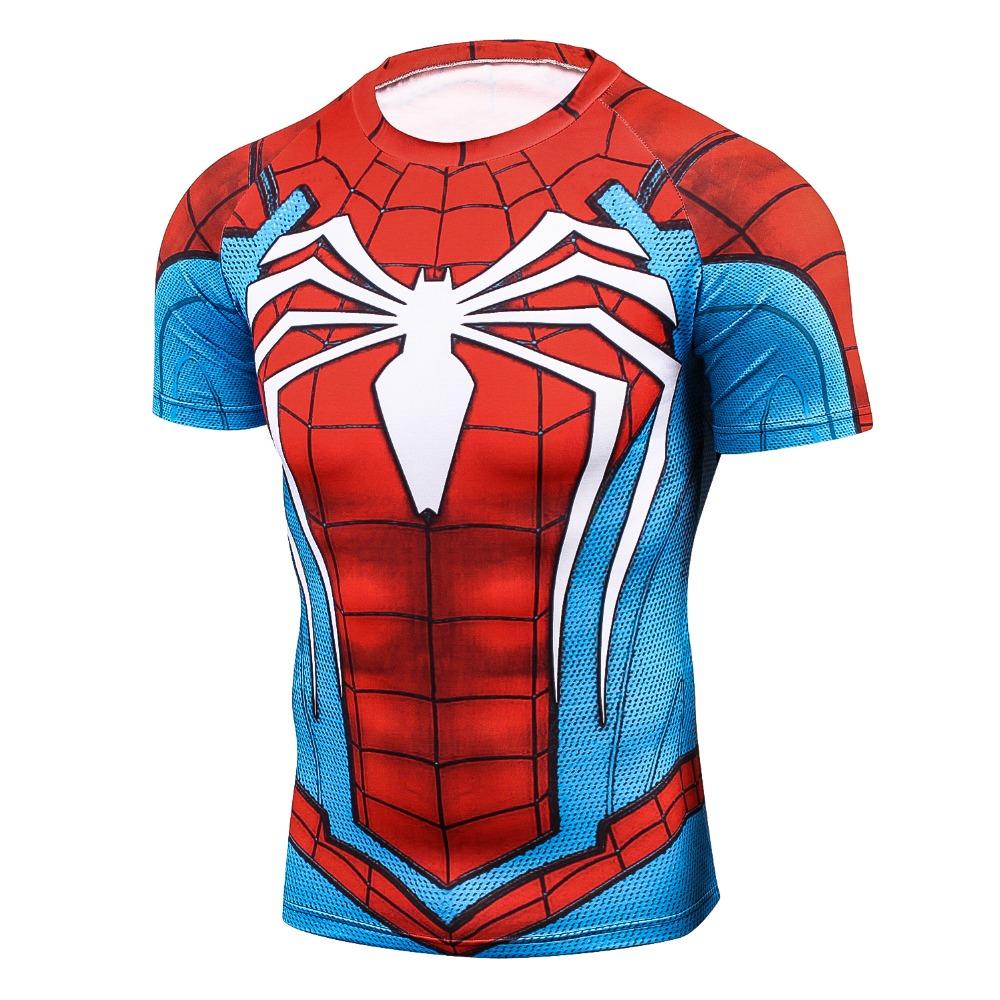 [해외]새로운 남자 청소년 3D 티셔츠 놀라운 일 슈퍼 히어로 스파이더 맨 Ironman 티 셔츠 맨 피트니스 티 압축 셔츠 높은 탄성 스타킹/New Men Youth 3D T-Shirt Marvel Superhero Spiderman Ironman T Shirt Ma