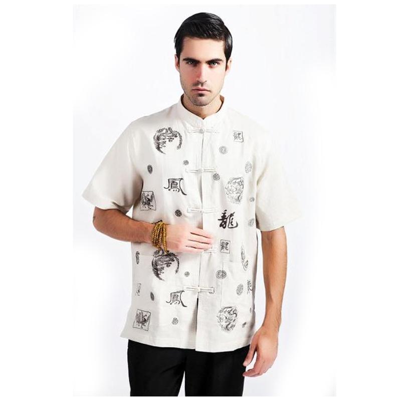 [해외]베이지 어 남성 쿵푸 셔츠 코튼 리넨 셔츠 여름 짧은 Retail..