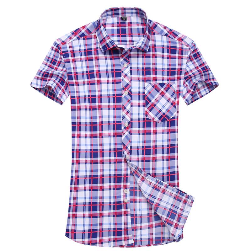 [해외]셔츠 격자 무늬 짧은 Retail 남자 2017 새로운 남성 셔츠 소년 인기있는 패션 캐주얼 판매 의류 핫 세일 여러 가지 빛깔의 톱 사이즈 S-4XL/Shirt plaid short sleeve men 2017 new male shirt boy popular