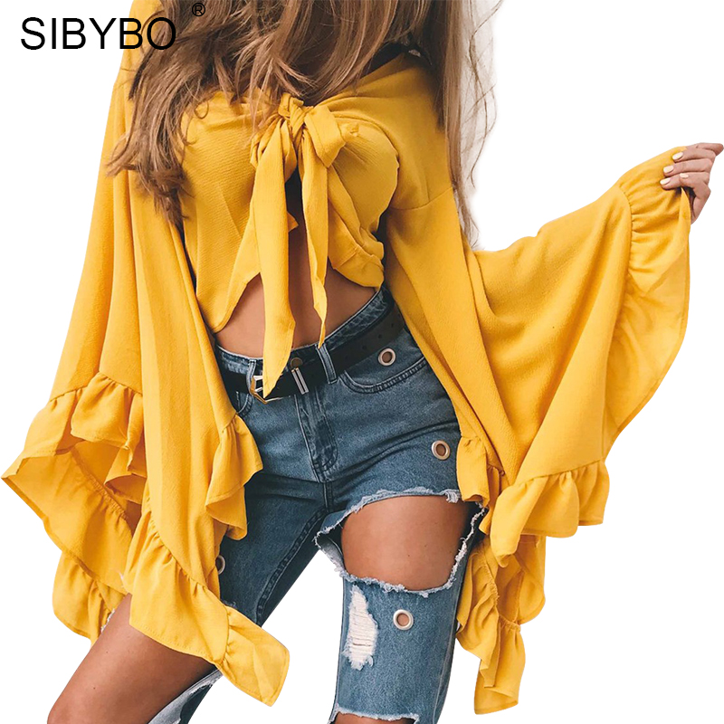 [해외]Sibybo 꽃잎 짧은 섹시한 여성의 블라우스 패션 V - 넥 슬림 긴 Retail 매듭 블라우스 여성 셔츠 단색 캐주얼 여성 탑스/Sibybo Petal Sleeve Short Sexy Women Blouses Fashion V-Neck Slim Long Sl