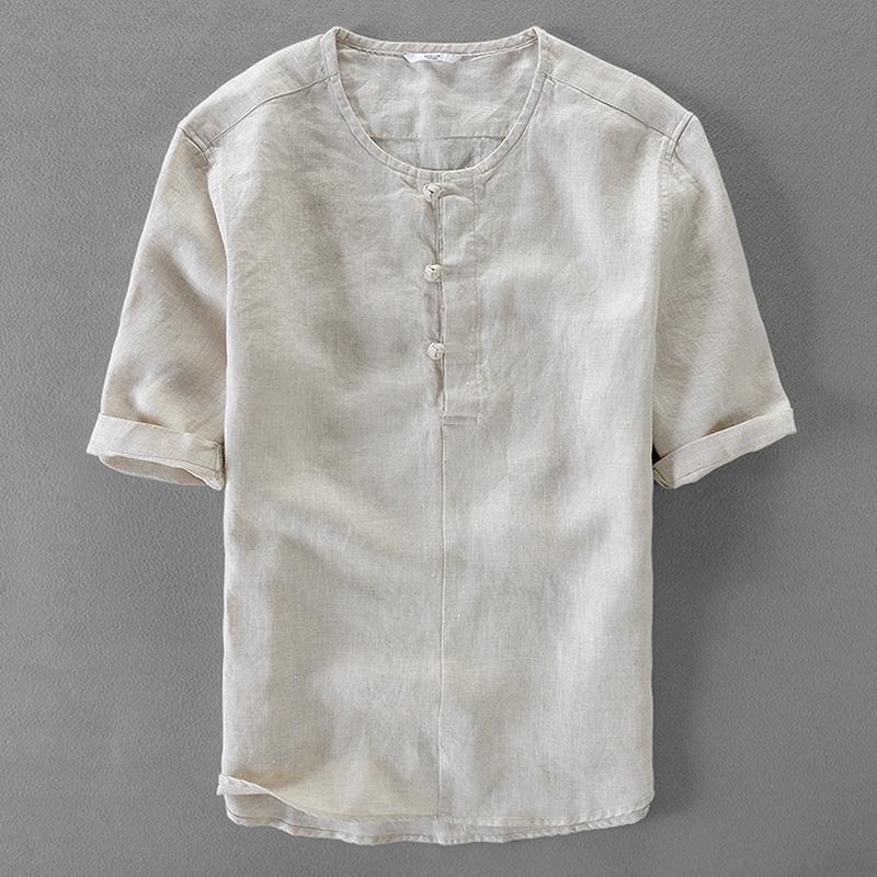 [해외]이탈리아 브랜드 여름 셔츠 남성 캐주얼 패션 남성 셔츠 짧은 Retail 순수 린넨 셔츠 망 고체  스타일 셔츠 남성 camisa/Italy brand summer shirt men casual fashion men shirts short sleeve pure