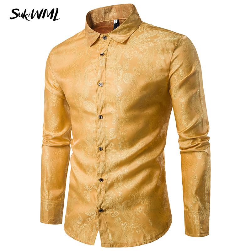 [해외]SUKIWML 2017 패션 골드 남성 & 남성 셔츠 긴 Retail Chemise Homme Casual Mens Dress Shirts 슬림 피트 Camisa Social Masculina M-2XL/SUKIWML 2017 Fashion Gold Me